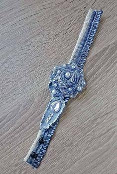 Best 12 Denim rose pearls fringe boho bracelet denim bracelet denim