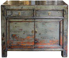 One Kings Lane Vintage Gray Gansu Chest - painted furniture cabinet