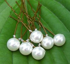 8 Bridal Hair Pins with Swarovski Pearls 8mm by Saralibbey on Etsy, $10.65