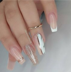 Clear Glitter Nails, Bling Acrylic Nails, Acrylic Nails Coffin Short, Pink Nail Art, Best Acrylic Nails, Gel Nails, Glitter Acrylics, Elegant Nails, Stylish Nails