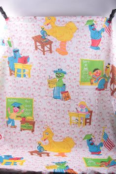 Sesame Street Vintage Full Sheet Twin Sheet School Time Fabric Big Bird Ernie Cookie Monster  The Pink Room  by ThePinkRoom