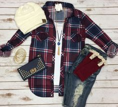 Penny Plaid Flannel Top: Burgundy/Blue top can be worn as long sleeves or a top. Soooo my style! Jean Outfits, Casual Outfits, Cute Outfits, Casual Wear, Outfit Jeans, Women's Jeans, Ripped Jeans, Skinny Jeans, Style Geek