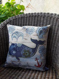 Grande housse de coussin carré, tissu tissé motif baleine bleu et toile de coton bleu ciel, décoration du salon,thème mer