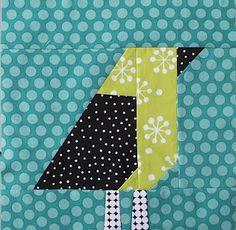 Pieced bird block - love the contemporary fabric choicesQ=!