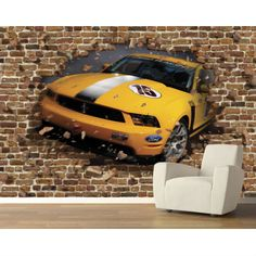 Brilliant transformation for the garage wall with a mural at http://lelandswallpaper.com!  Width: 12 ft  Height: 8 ft  Panels: 8  pre-pasted, removable, strippable  bright yellow Boss 302 breaking through a wall of brick. perfect for any teenager's room, man cave, and garage $258.95