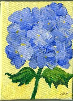 Blue Hydrangea  Bloom  original  mini painting by SharonFosterArt, $22.00
