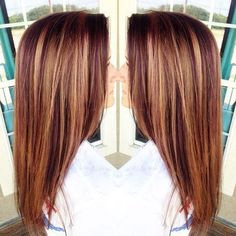 purple red hair with caramel highlights