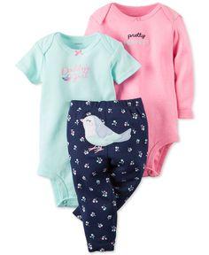Carter\'s Baby Girls\' 3-Piece Bodysuit & Bird Pants Set