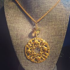 """Filigree Necklace - 28"""" wheat chain accented with clear citrine stone and filigree drop. - $44.00"""