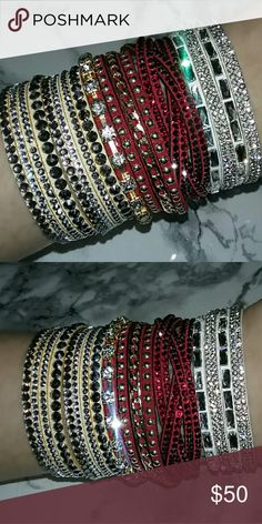 pakistani sexy bridal crystal jewelry gemstone party wear glam stackable multicolor bracelets beige nude crystal