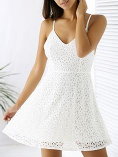 GET $50 NOW | Join Zaful: Get YOUR $50 NOW!http://m.zaful.com/white-lace-spaghetti-straps-a-line-dress-p_205356.html?seid=1302287zf205356