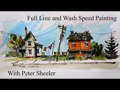 Start to finish Line and Wash painting of Houses and Trees. 4x speed painting, fun, quick and easy. - YouTube