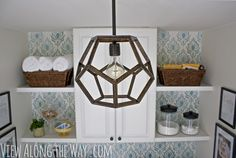 DIY Dodecahedron Pendant Light: geometric light made to look like an expensive Ralph Lauren light! Diy Projects For Men, Home Projects, Weekend Projects, Craft Projects, Diy Luz, Diy Pendant Light, Pendant Lamp, Pendant Lights, Globe Pendant