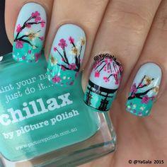 Cherry Blossom. Sakura by Yagala - Nail Art Gallery nailartgallery.nailsmag.com by Nails Magazine www.nailsmag.com #nailart