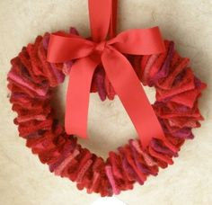 felted wool heart wreath recycled red pink by maddyandme on Etsy, $45.00