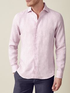 Portofino Shirt, Mother Of Pearl Buttons, Cotton Shorts, Classic Looks, Lilac, Pure Products, Linen Shirts, Casual, Mens Tops