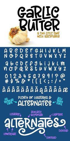 Garlic Butter a tasty fun font! fonts font ideas font inspiration font typograp - Fun Graphics - Ideas of Fun Graphics - Garlic Butter a tasty fun font! Cool Fonts Alphabet, Hand Lettering Alphabet, Typography Letters, Typography Poster, Handwriting Fonts Alphabet, Font Art, Typeface Font, Calligraphy Fonts, Caligraphy