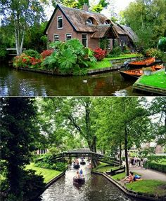 This is a little dutch villiage called Giethoorn and it's one of those rare birds that doesn't come around too often. The whole village is connected by a water canal system instead of actual roads so the locals commute daily by boats, kayaks or canoes. I want to go here so bad!
