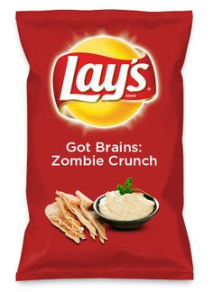 Wouldn't Got Brains: Zombie Crunch be yummy as a chip? Lay's Do Us A Flavor is back, and the search is on for the yummiest flavor idea. Create a flavor, choose a chip and you could win $1 million! https://www.dousaflavor.com See Rules.