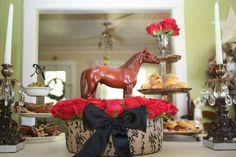 Kentucky Derby luncheon at Kiki's, horse centerpiece, derby centerpiece, red roses, equestrian, derby day, kentucky derby bridal shower
