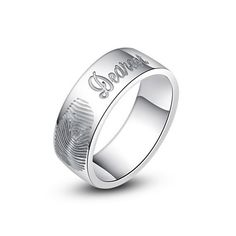 Wedding ring, Fingerprint ring engraved fingerptint band ring fingerprint jewelry in silver metal  Ask a Question $49.99 USD