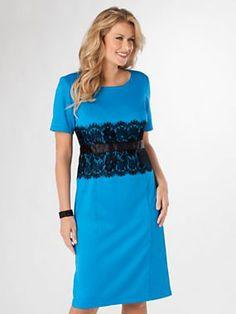 Lace-Accented Ponté Dress by Vicki Wayne®   Old Pueblo Traders