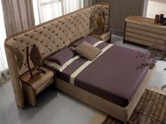 Tanned leather king size bed with upholstered headboard VICTORY by Ulivi Salotti