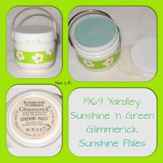 """1969 Yardley Glimmerick Sunshine Pales Water-Color Eye Shadow. The shade is Sunshine 'n Green (a frothy summer seascape). The other shades were Sunshine 'n Sand (a pinky beige) and  Sunshine 'n Blue (a sky-blue blue). """"You get a sunshine pale. He'll build a sandcastle."""" This is a rare Yardley item."""