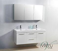 """54"""" Virtu Midori JD-50154-GW Double Sink Bathroom Vanity - Gloss White #Virtu #HomeRemodel #BathroomRemodel #BlondyBathHome #BathroomVanity"""