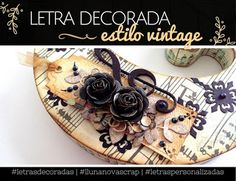 Letras de madera decorada scrapbooking - #letrasdecoradas #letrasdemadera #letras #scrap #scrapbooking