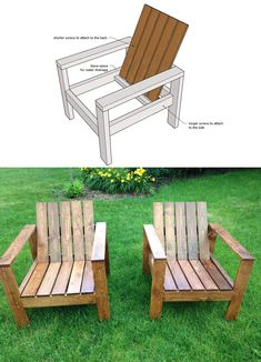 Cool modern outdoor chairs, without the angle cuts! Reclined seat and back. Free plans by ANA WHITE Modern Outdoor Chairs, Outdoor Furniture Plans, Woodworking Furniture Plans, Diy Furniture Plans Wood Projects, Pallet Furniture, Outdoor Decor, Craftsman Outdoor Chairs, Playhouse Furniture, Geek Furniture