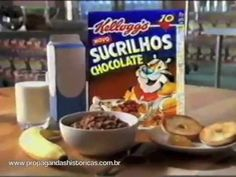 Sucrilhos Chocolate (Kellogs) - 1998 - YouTube Chocolate, Frosted Flakes, Cereal, Breakfast, Food, Youtube, Packaging, 1990s, Morning Coffee