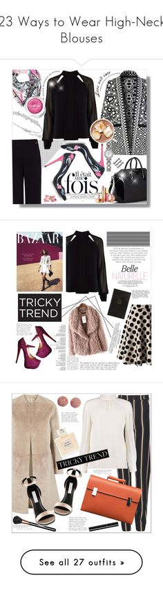 """23 Ways to Wear High-Neck Blouses"" by polyvore-editorial ❤ liked on Polyvore featuring TrickyTrend, waystowear, highneckblouse, Emilio Pucci, Pink Tartan, Glamorous, Karen Millen, Loriblu, Givenchy and Swarovski"
