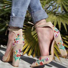 High Heel Pumps, Pumps Heels, Stiletto Heels, Spring Shoes, Summer Shoes, Floral Heels, Chunky High Heels, Prom Shoes, Womens High Heels
