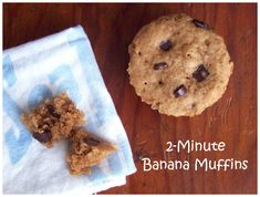awesome texture banana muffins in 2 minutes - vegan gluten free dairy free Vegan Gluten Free Breakfast, Gluten Free Muffins, Gluten Free Sweets, Gluten Free Cookies, Vegan Muffins, Wheat Free Recipes, Dairy Free Recipes, Gf Recipes, Single Serving Recipes