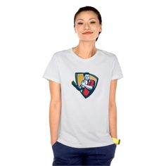 Rugby Player Running Ball Shield Retro Tshirts. Rugby World Cup women's t-shirt designed with an illustration of a rugby player running with the ball set inside crest shield done in retro style. #rwc #rwc2015 #rugbyworldcup