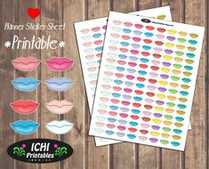 Lips Planner Stickers, Printable Lips Stickers, Kiss Stickers, Kissing, Romance, Smooch, Kawaii, Print Cut, Erin Condren Planner, Functional by Ichiprintables