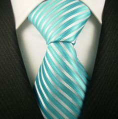 teal/white striped ties