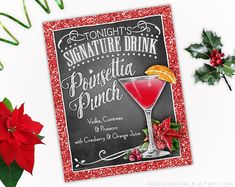 """Download - Poinsettia Punch Drink Sign with Red Glitter Border - AS IS - 8""""x10"""" PRINTABLE Instant Download Party Decoration"""