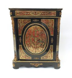 Lot 4: Victorian ebony and boulle work side cab... easyLiveAuction.com