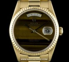 Rolex 18k Yellow Gold O/P Rare Tigers Eye Dial Day-Date Gents B&P 18238