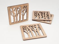 Wooden  Tree Pattern  Coasters  Set of 4 by BeamDesigns on Etsy