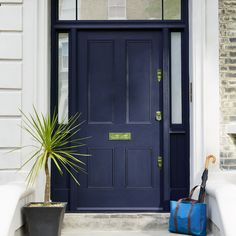 Front Door Colors For Navy Blue House.Painting Our Dirtiest Door And A New Favorite Navy . Blue Door With Darker Grey And White Trim Paint Colors . Best Front Door Colors For A Beige Home * Kelly Bernier . Home and Family Front Door Farrow And Ball, Dark Front Door, Gray Front Door Colors, Teal Front Doors, Painted Front Doors, The Doors, Entrance Doors, Doorway, Little Greene Farbe