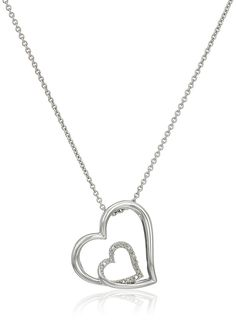 Sterling Silver Diamond Accent Double Heart Pendant Necklace, 18' >>> For more information, visit image link. (This is an Amazon Affiliate link and I receive a commission for the sales)