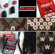 WWE Party Pack Banner / Cupcake Toppers / Water Bottle Wrestling Birthday Parties, Wrestling Party, Wwe Birthday, Fall Birthday Parties, Baby Birthday, Birthday Celebration, Birthday Party Themes, Boxing Theme Party Ideas, Diva Birthday Cakes