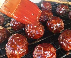 Looking for a scrumptious backyard BBQ party appetizer? These Grilled BBQ Meatballs are easy to make and will leave everyone complimenting your mad BBQ skills. Grilled Burger Recipes, Grilled Vegetable Recipes, Kebab Recipes, Grilled Chicken Recipes, Barbecue Recipes, Grilling Recipes, Cooking Recipes, Grilling Ideas, Smoker Recipes