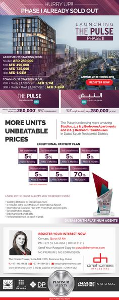 Dubai South is launching The Pulse Phase II on Nov, offering 2 & 3 Bedrooms Townhouses and 2 & 3 Bedrooms Apartments and Residences along with World Class Amenities. Starting prices for studios will be AED with Down Payment. Phase I is already SOLD OUT. Dubai Market, Nov 2016, 3 Bedroom Apartment, Townhouse, Apartments, Studios, Investing, Bedrooms, Product Launch