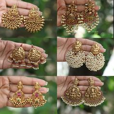 Indian Jewelry Earrings, Indian Jewelry Sets, Jewelry Design Earrings, Antique Earrings, Necklace Designs, Fancy Earrings, Fashion Earrings, Gold Earrings, Antique Jewellery Designs