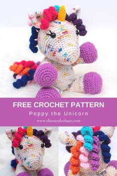 Poppy the Unicorn - Free Crochet Pattern — Nicole Chase Free Crochet, Crochet For Kids, Crochet Toys, Knit Crochet, Poppies, Knit Picks, Unicorn, Free Baby Stuff, Crochet Patterns