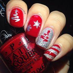 Christmas Nail Stickers, Christmas Gel Nails, Christmas Nail Art Designs, Holiday Nails, Christmas Toes, Xmas Nail Art, Christmas Christmas, Christmas Present Nails, Snowman Nail Art